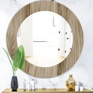 Designart 'Wood III' Mid-Century Mirror - Oval or Round Wall Mirror - Brown