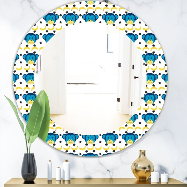 Designart 'Doodle Monkey Pattern' Bohemian and Eclectic Mirror - Oval or Round Wall Mirror - Blue