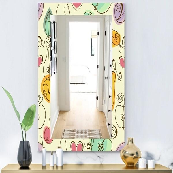 Designart 'Apples Pears & Cherries' Bohemian & Eclectic Mirror - Modern Wall Mirror - Gold