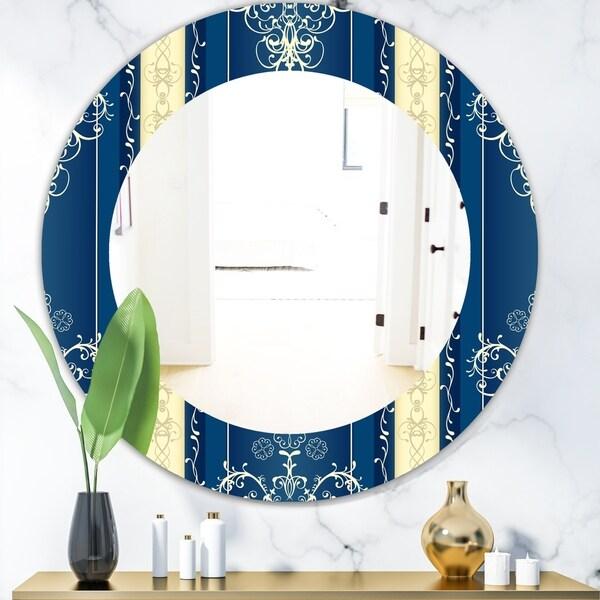 Designart 'Luxury Lace Design' Mid-Century Mirror - Oval or Round Wall Mirror - Blue