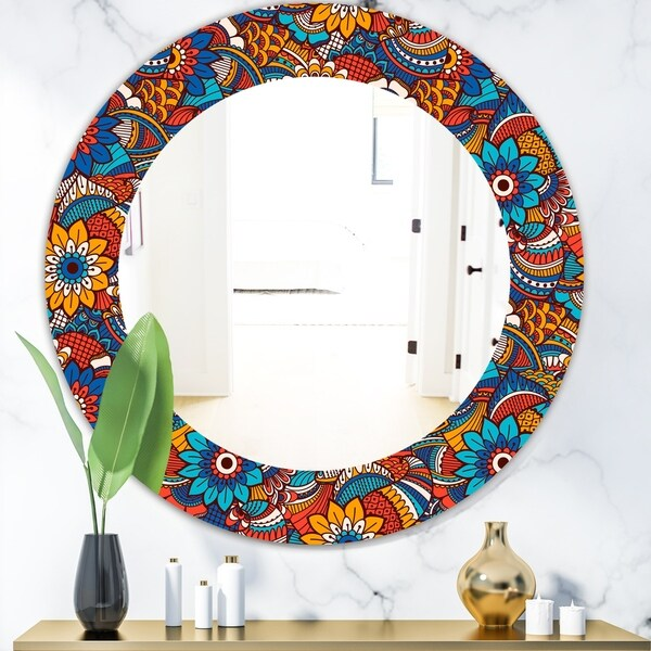 Designart 'Hand Drawn Pattern With Floral Elements' Bohemian and Eclectic Mirror - Oval or Round Wall Mirror - Blue