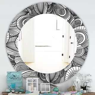 Designart 'Geometric Leaves In Black and White' Traditional Mirror - Oval or Round Wall Mirror