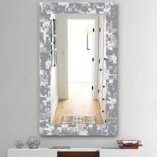 Designart 'Grey Pixelation' Mid-Century Mirror - Wall Mirror - Grey/Silver