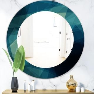 Designart 'Shades Of Blue' Modern Mirror - Oval or Round Wall Mirror