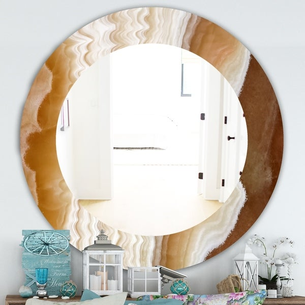 Designart 'Marbled Geode 3' Traditional Mirror - Oval or Round Wall Mirror - White