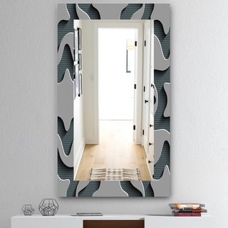 Designart 'Starshaped Abstract Technology' Mid-Century Mirror - Wall Mirror - Grey/Silver