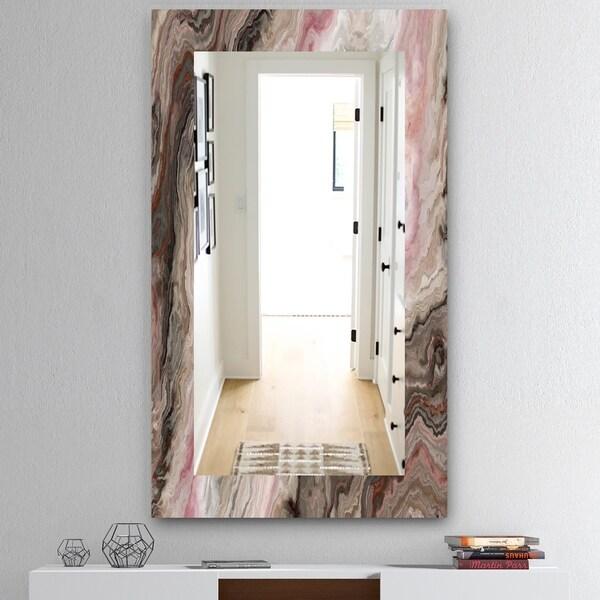 Designart 'Marbled Geode 17' Mid-Century Mirror - Wall Mirror - Grey/Silver