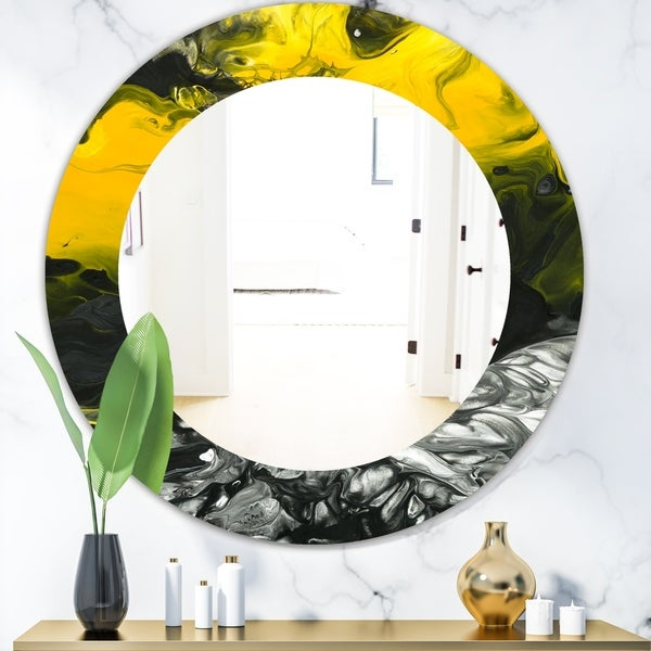 Designart 'Marbled Yellow 4' Modern Mirror - Oval or Round Wall Mirror - Gold