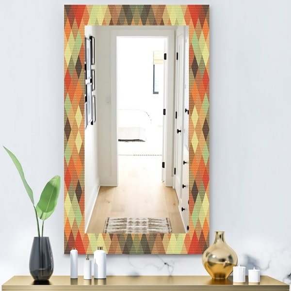 Designart 'Triangular Colourfields 30' Modern Mirror - Wall Mirror - Red