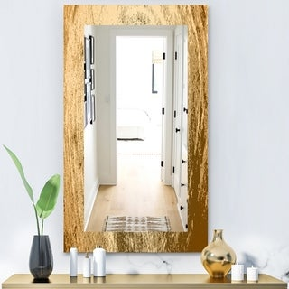Designart 'Vintage Tree Grooves Annual Rings On Stump' Bohemian and Eclectic Mirror - Vanity Mirror - Brown