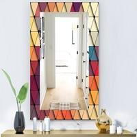 Designart 'Triangular Colourfields 22' Modern Mirror - Wall Mirror - Blue