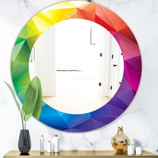 Designart 'Triangular Colourfields 25' Modern Mirror - Oval or Round Wall Mirror - Blue