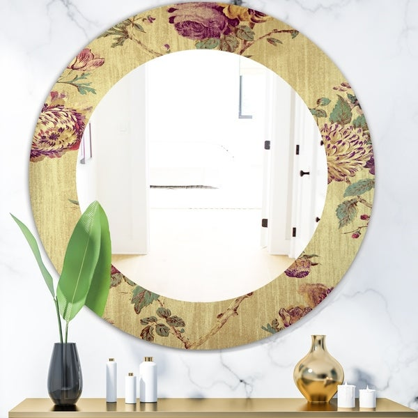 Designart 'Vintage Purple Flowers' Bohemian and Eclectic Mirror - Oval or Round Wall Mirror