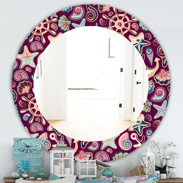 Designart 'Costal Creatures 13' Traditional Mirror - Oval or Round Wall Mirror - Purple