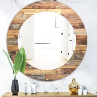 Designart 'Wood IV' Modern Mirror - Oval or Round Wall Mirror