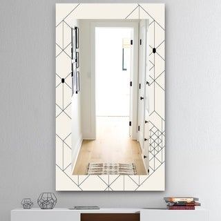 Designart 'Triangular Spacy Spheres 1' Mid-Century Mirror - Wall Mirror - White