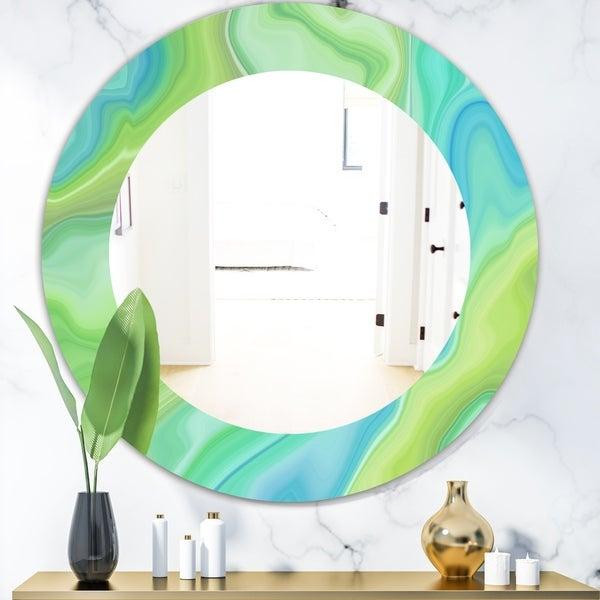 Designart 'Marbled Geode 7' Modern Mirror - Oval or Round Wall Mirror