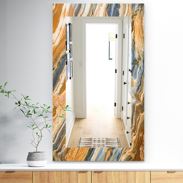 Designart 'Marbled Geode 4' Traditional Mirror - Wall Mirror - Orange