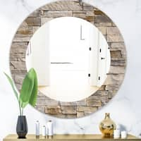 Designart 'Stone 1' Modern Mirror - Oval or Round Wall Mirror - Gold
