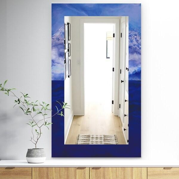 Designart 'Blue Vibe' Traditional Mirror - Vanity Mirror - Blue