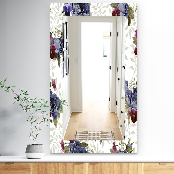 Designart 'Red Peonies and Pansies Flowers' Traditional Mirror - Wall Mirror - Red