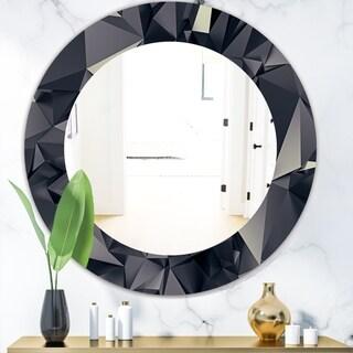 Designart 'Shades Of Black' Modern Mirror - Oval or Round Wall Mirror - Black