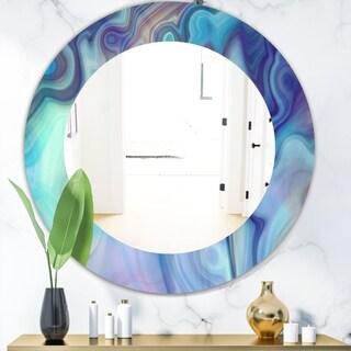 Designart 'Marbled Geode 8' Modern Mirror - Oval or Round Wall Mirror - Blue