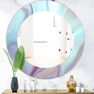 Designart 'Marbled Geode 5' Modern Mirror - Oval or Round Wall Mirror - Blue
