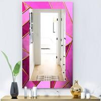 Designart 'Capital Gold Honeycomb 4' Modern Mirror - Vanity Mirror - Purple