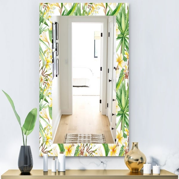 Designart 'Tropical Mood Bright 10' Bohemian and Eclectic Mirror - Wall Mirror - White