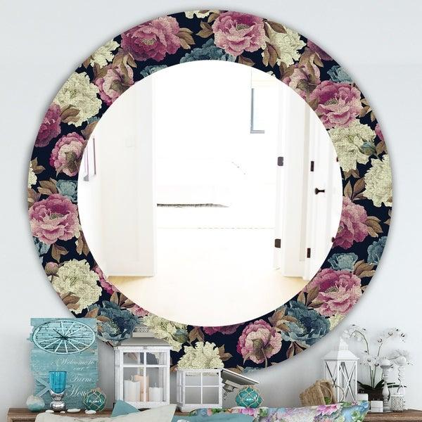 Designart 'Obsidian Bloom 20' Traditional Mirror - Oval or Round Wall Mirror - Blue