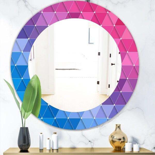 Designart 'Triangular Colourfields 15' Modern Mirror - Oval or Round Wall Mirror - Blue