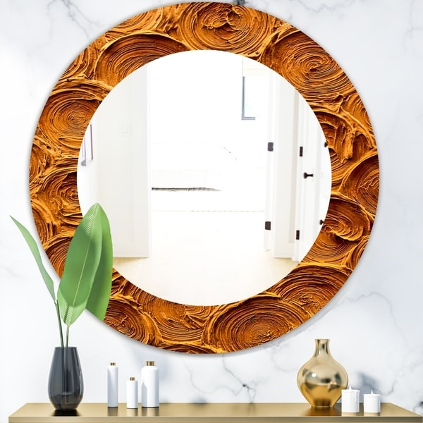 Designart 'Concentric Paint Rings In Earthy Gold Brown' Mid-Century Mirror - Oval or Round Wall Mirror - Brown