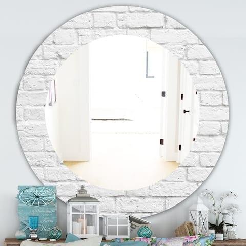 Designart 'Stone 3' Traditional Mirror - Oval or Round Wall Mirror - Grey