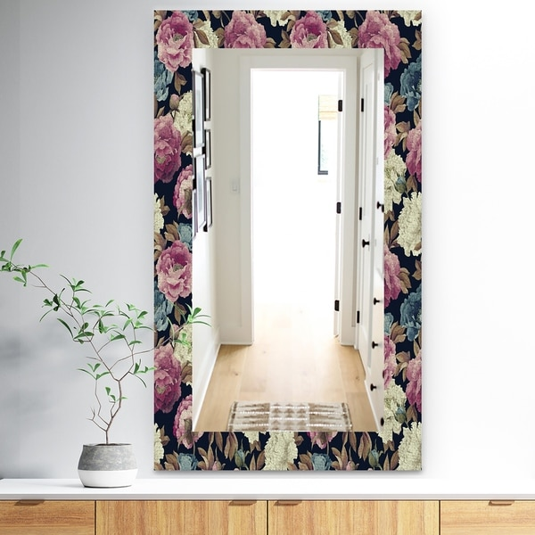 Designart 'Obsidian Bloom 20' Traditional Mirror - Vanity Mirror - Blue