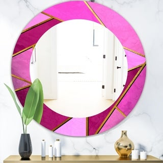 Designart 'Capital Gold Honeycomb 4' Modern Mirror - Oval or Round Wall Mirror - Purple