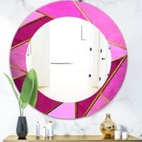 Designart 'Capital Gold Honeycomb 4' Modern Mirror - Oval or Round Wall Mirror - Purple