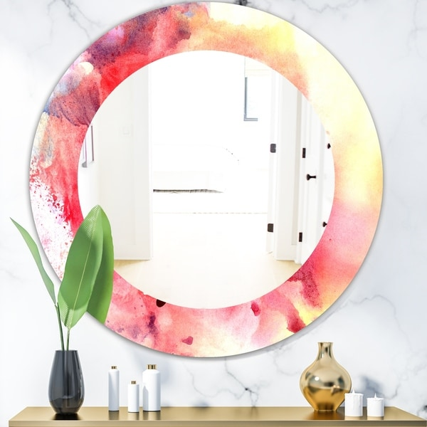 Designart 'Pink Abstract' Mid-Century Mirror - Oval or Round Wall Mirror - Pink