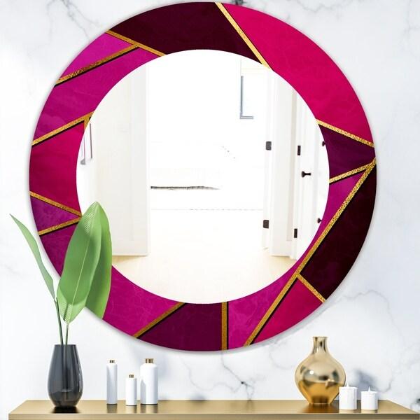 Designart 'Capital Gold Honeycomb 2' Modern Mirror - Oval or Round Wall Mirror