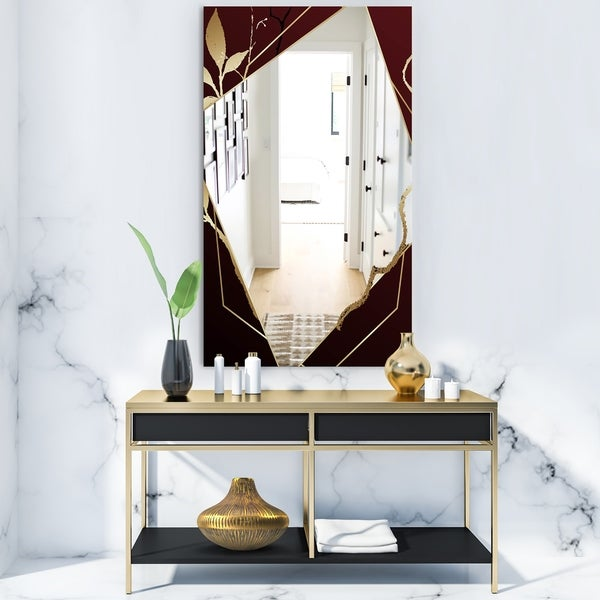 Designart 'Black and Gold Marble Floral Geometric III' Glam Mirror - Frameless Vanity Mirror