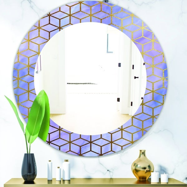 Designart 'Capital Gold Honeycomb 5' Modern Mirror - Oval or Round Wall Mirror