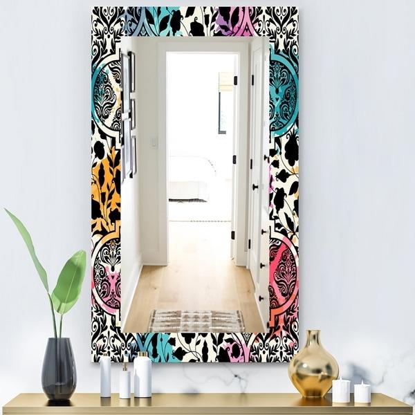 Designart 'Black Floral With Pops Of Color' Modern Mirror - Vanity Mirror - Black