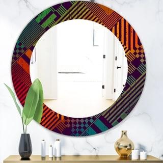 Designart 'Grungy Geometric' Modern Mirror - Oval or Round Wall Mirror - Red