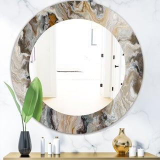 Designart 'Onyx Detail Composition' Mid-Century Mirror - Oval or Round Wall Mirror - Gold