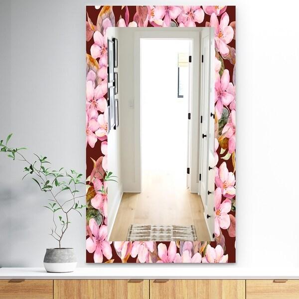 Designart 'Pink Blossom 52' Traditional Mirror - Wall Mirror - Pink