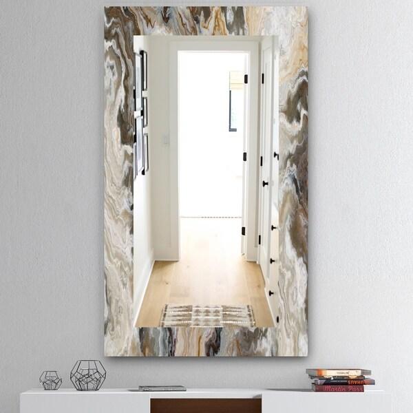 Designart 'Onyx Detail Composition' Mid-Century Mirror - Wall Mirror - Gold