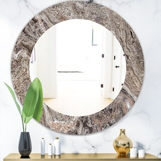 Designart 'Onyx Travertine Tile' Mid-Century Mirror - Oval or Round Wall Mirror - Grey/Silver