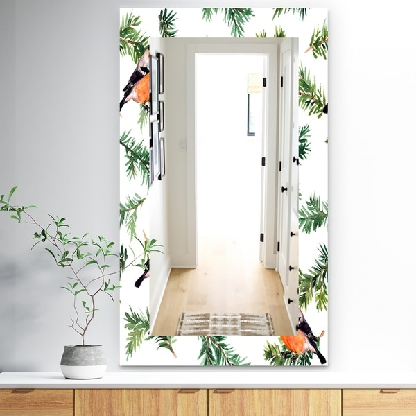 Designart 'Robin Birds On Pine Branch' Traditional Mirror - Wall Mirror - Red