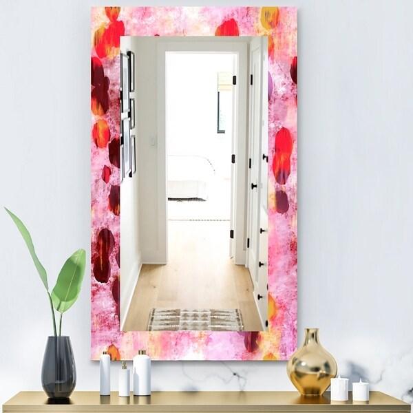 Designart 'Pink Spheres 8' Modern Mirror - Vanity Mirror - Purple