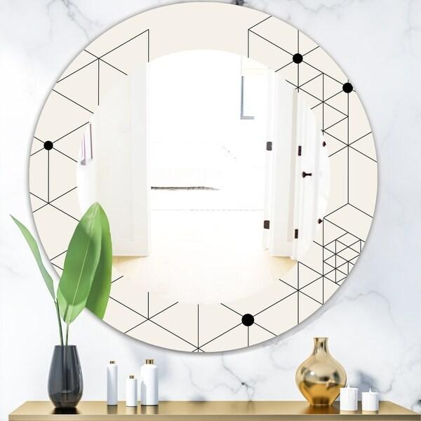Designart 'Triangular Spacy Spheres 1' Mid-Century Mirror - Oval or Round Wall Mirror - White